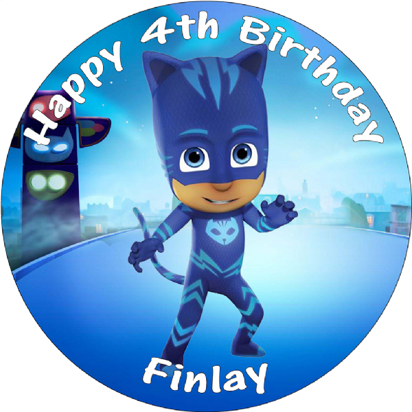 PJ MASKS CATBOY BIRTHDAY CAKE EDIBLE ROUND PRINTED TOPPER DECORATION